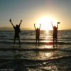 Jumping waves in the sunset at the Great Salt Lake, Utah