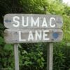 Sumac Lane trail sign at the Kent Park Arboretum in Webster, NY