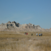 Hiking on the west end of the Castle Trail, Badlands National Park, South Dakota