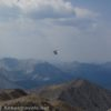 A helicopter circles Mount Elbert summit, San Isabel National Forest, Colorado