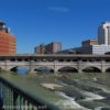 The Broad Street Bridge (old Erie Canal Bridge over the Genesee) from the Genesee Greenway, Rochester, New York