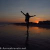 Dancing and enjoying the sunset on Holden Beach, North Carolina