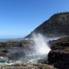 Waves crash against the ancient lava flow at Cape Perpetua, Oregon