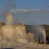 Castle and Beehive Geysers erupt simultaneously in the Upper Geyser Basin of Yellowstone National Park, Wyoming