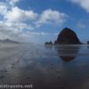 Walking toward Haystack Rock near Cannon Beach, Oregon