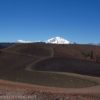 Views across the Cinder Cone in Lassen Volcanc National Park toward Lassen Peak, California