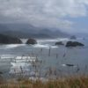 Views of Cannon Beach from a viewpoint at the Ecola Point area of Ecola State Park, Oregon