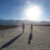 Walking out onto Badwater Basin near sunset in June, Death Valley National Park, California