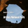 Enjoying the view through Double Arch in Arches National Park, Utah