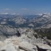 Climbing the rib of rock to the summit of Clouds Rest, Yosemite National Park, California