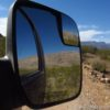 Views of the scenery surrounding the Whitmore Trail in the sideview mirror, Grand Canyon-Parashant National Monument, Arizona