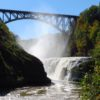 The Upper Falls in Letchworth State Park, New York, under the new rail bridge