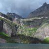 Grinnell Falls over Grinnell Lake, Glacier National Park, Montana
